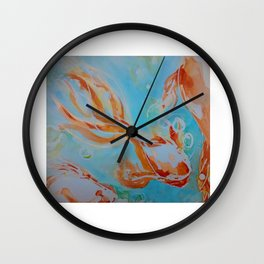 GoldFish Bubbles 1se watercolor by CheyAnne Sexton Wall Clock