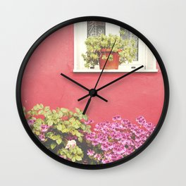 Pink wall and flowers Wall Clock