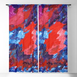 Red Blue Abstract #124 Blackout Curtain