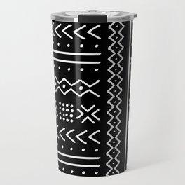 Black hand drawn mudcloth Travel Mug