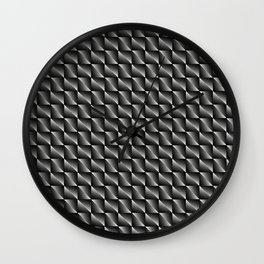 Monochrome woven pattern of metal squares and gray rhombuses with volumetric triangles. Wall Clock