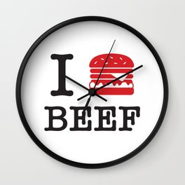 I Love Beef Wall Clock