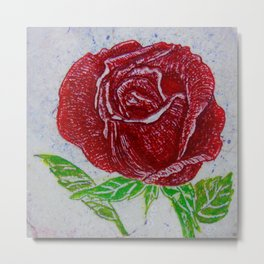 Red Rose Etched By Catherine Coyle Metal Print