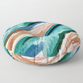Here's to the Dreamers [2]: a minimal, watercolor abstract piece in pinks, green, blue, and white Floor Pillow
