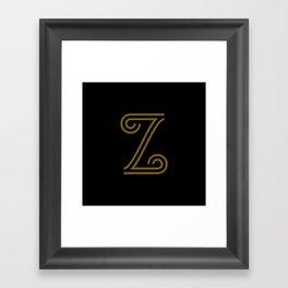 Mocha Script Z Drop Cap Framed Art Print