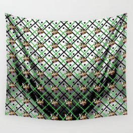 Calico Cat Face Plaid Wall Tapestry
