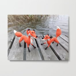 Playful Foxes On The Jetty Metal Print