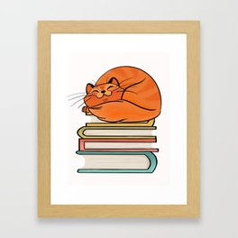 With Books And Cats Life Is Sweet Framed Art Print