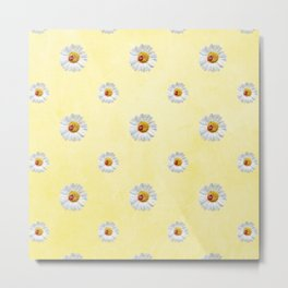 Daisies in love- Yellow Daisy Flower Floral pattern with Ladybug Metal Print