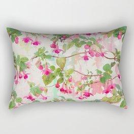 Rainbow Fuchsia Floral Pattern Rectangular Pillow