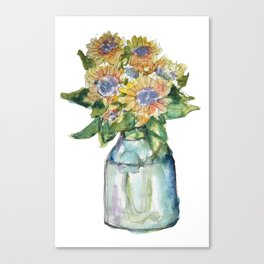 Watercolor Sunflower Vase Canvas Print