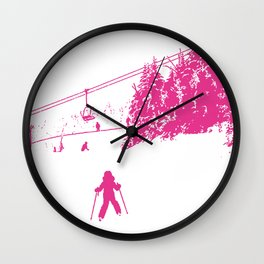 Little Skier - Pink Wall Clock