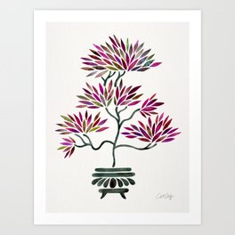 Bonsai Tree – Fuchsia Palette Art Print