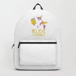 Unicorn Believe Yourself Magical Creatures Magic Fantasy Rainbow Fairytale Myth Horse Lovers Gift Backpack