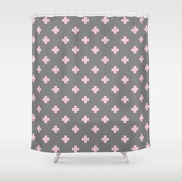 Pink Swiss Cross Pattern on Light Grey background Shower Curtain