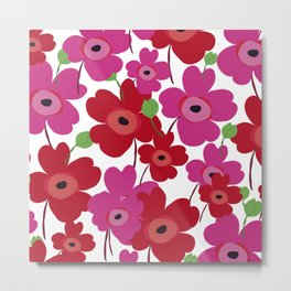 Graphic flowers:Royal red Metal Print
