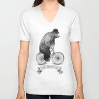 lime V-neck T-shirts featuring Bears on Bicycles (Lime) by Eric Fan