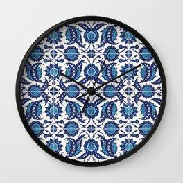 Iznik Pattern Blue and White Wall Clock
