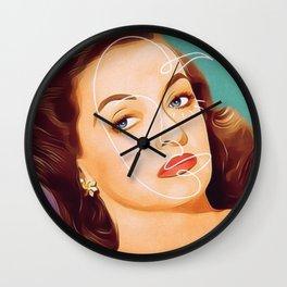 Bette Davis Vintage Hollywood Line Art Pastel Portrait Wall Clock