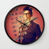 david tennant Wall Clocks featuring DON'T BLINK! David Tennant - Doctor Who by KanaHyde