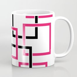 Abstract composition with black and pink squares Coffee Mug