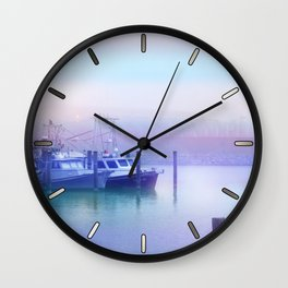 Moored Boats In the Early Morning Fog Wall Clock