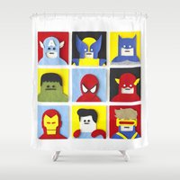 heroes Shower Curtains featuring Felt Heroes by Jacopo Rosati