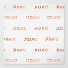 Valentines Day Rose Gold Words - XOXO Canvas Print