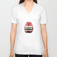 brain V-neck T-shirts featuring Brain by Jon McAfee