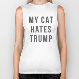 funny political cat lover gift - my cat hates trump shirt Biker Tank