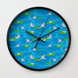 Paper cranes in a pond origami Wall Clock