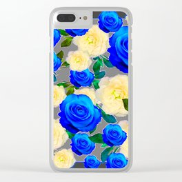 CHARCOAL GREY DECORATIVE WHITE & BLUE ROSE GARDEN Clear iPhone Case