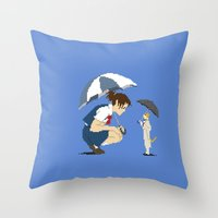 returns Throw Pillows featuring Cat Returns by 8-bit Ghibli