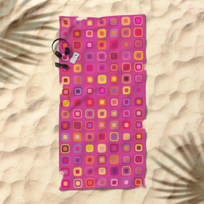 Retro in Pink Beach Towel