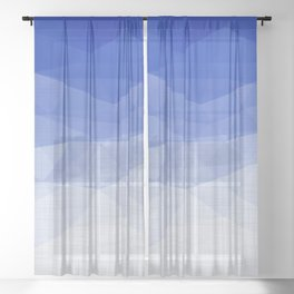 Imperial Lapis Lazuli - Triangles Minimalism Geometry Sheer Curtain