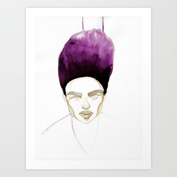 Morgan's Hair is on Purple Fire Art Print