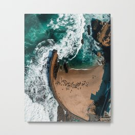 Seal Cove, Aerial Beach Photograph Metal Print