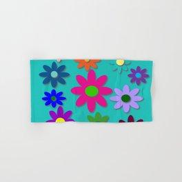 Flower Power - Teal Background - Fun Flowers - 60's Style - Hippie Syle Hand & Bath Towel