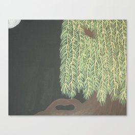 Moonlit Weeping Willow Canvas Print