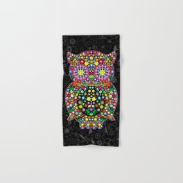 Owl Zentangle Floral   Hand & Bath Towel