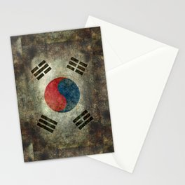 National flag of South Korea, officially the Republic of Korea, Vintage version to scale Stationery Cards