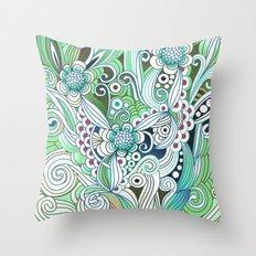 Zentangle Flower fire, green doodle Throw Pillow