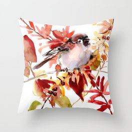 Bird and The Fall Throw Pillow