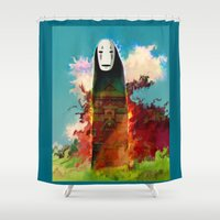 chihiro Shower Curtains featuring no face by ururuty