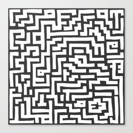 White and Dark Grey Maze Pattern Canvas Print