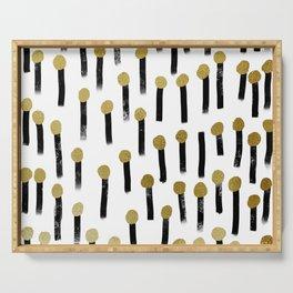 Light matchsticks minimalist black and gold abstract art print Serving Tray