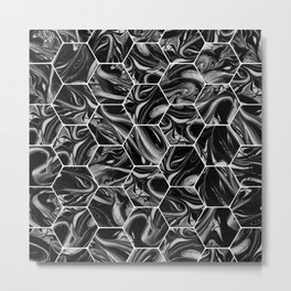 Hex & Swirl - Black and White Marble Pattern Metal Print