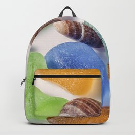 Tiny sea shell and Beach Glass Backpack