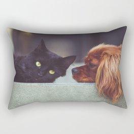 CAT - DOG - LYING - DOWN - ANIMALS - FRIENDS - PHOTOGRAPHY Rectangular Pillow