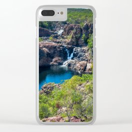 Pools and waterfalls viewed from above at Edith Falls, Australia Clear iPhone Case